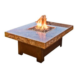 "COOKE - Balboa Fire Pit Table , 48x48 - This fire pit table is 48""x36""x22""H or 48x48x22""H with a 18""x18"" fire pit, the base is made from 304 Stainless steel which can be powder coated in many different colors or copper plated with real copper that with naturally patina over time(shown). The top is made from 1.25"" thick granite with mitered edges giving it a 4"" thick edge. The granite shown is Copper Canyon which is a beautiful exotic stone."