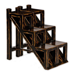 Uttermost - Asher Black Stepped Accent Table - Solid plantation-grown mango wood, hand painted black with heavy distressing, rubbed through to natural wood grain.