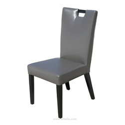 ARTeFAC - 2 - Handle Back Leather Dining Chair in Brown, Grey - 2 - Handle Back Leather Dining Chair in Grey