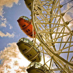London Eye Pop Of Orange-London, Fine Art Photography Print, 10X15 - This was taken in London Summer of 2012 during the Olympics. What an awesome city and AMAZING experience! The London Eye is a must see and do when in London. I love the pop of orange
