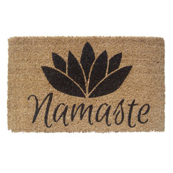 Entryways - Namaste Handwoven Coconut Fiber Doormat - Designed by an artist, this distinctive mat is a work of art that will add a welcoming touch to any home. It is from Entryways' handmade collection and meets the industry's highest standards. This decorative mat is handsomely hand woven and hand stenciled.