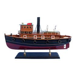 Handcrafted Model Ships - River Rat Tugboat - Wooden Model Fishing Boat - Not a model ship kit
