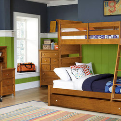 "Lea Industries - Lea Willow Run 5 Piece Bunk Bedroom Set in Rich Toffee Brown - This classic bunk bed is a great space saver for your child's bedroom. It features lovely slat panel detailing on the ends and sturdy construction for a casual, timeless look. Many different styles and settings will work well with this simple design. A guard rail is included on the top bunk to prevent rolling over the edge while a ladder provides easy mobility from top to bottom. In addition, a understorage trundle is including, providing extra storage space for keeping books, games, blankets, bedsheets, pillows and much more. Make room for siblings and sleepovers in your home with help from this attractive bunk bed. - 244-976-986-BB-5-SET.  Product features: Constructed of hardwood solids with high-quality veneers; Accommodate Max of 11"" of Mattress & Foundation; Accommodates Dual Function Storage Unit and Captains Box; Rich Toffee Brown finish; Available in Twin, Full and Twin/Full sizes. Product includes: Bunk Bed (1); Underbed Storage (1); Chest (1); Desk w/ Hutch (1); Chair (1). 5 Piece Bunk Bedroom Set in Rich Toffee Brown  belongs to Willow Run Collection by Lea Industries."