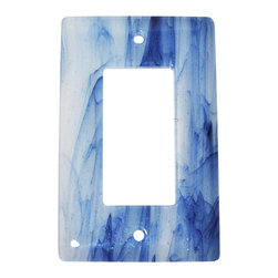 """Aquila Art Glass - Wall Plate Decoration, Metallic Blue Clear Swirl, 3x5 - To make a Wall Plates, two pieces of glass are cut, cleaned, stacked together and placed into a kiln. The kiln goes up to 1450 degrees Fahrenheit, and then the glass becomes molten and fuses together to make one piece of glass. The glass goes into a waterjet and the plate is cut out. Then, when the glass is placed onto a mold and taken to 1300 degrees Fahrenheit, the glass becomes elastic and gravity pulls the glass over the mold. We call this process slumping. The glass spends about 48 hours in the kilns. Expect slight variations in color & size. Aquila Art Glass is proud to say """"Our Glass Products are handcrafted in Portland Oregon using high quality handmade materials made in the USA."""""""