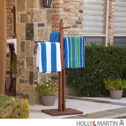 Southern Enterprises - Holly & Martin Kinloch Towel Rack in Natural - Two short and two long rungs to hang towels. Sturdy and wide flat base. Made from 100% eucalyptus. Natural oil wooden finish. Assembly required. Weight capacity per rung: 5 lbs.. Short rung: 10 in. L. Long rung: 14.5 in. L. Base stand: 18 in. W x 18 in. D. Overall: 31.25 in. W x 23.5 in. D x 53.25 in. H (15 lbs.)Excellent by the patio or pool or even bathtub, this towel rack offers a convenient place to hang your towels. Featuring all eucalyptus construction this towel rack is study and durable to withstand the elements of your outdoor space. Your family will be sure to love this addition to your home.