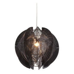 Centari Ceiling Lamp Black - Zuo Centari Ceiling LampLike a menacing piece of alien technology, the Centari ceiling lamp's exotic shape and lattice design will leave guests intrigued. The lamp is the perfect balance of acrylic and metal. It is UL approved. The lamps height is fully adjustable.Finish: Black