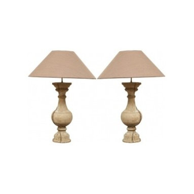 Eco Friendly Furnture and Lighting - 20th century A pair of wooden baluster lamps with shades