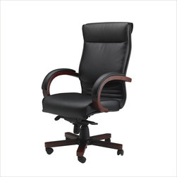 Mayline - Mayline Mercado Corsica Wood-Leather Office Chair-Mahogany - Mayline - Office Chairs - CSMAH - The Mayline Mercado Corsica Wood-Leather Office Chair adds a professional accent to any office space. The pneumatic height makes sure this seat is comfortable for persons of any size. Meet the deadline with the Mercado Corsica Wood-Leather Office Chair.