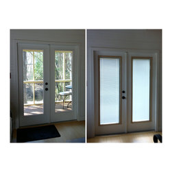 "Blinds Between the Glass - Patio Doors - For this remodel, we had a 6'8"" French Patio door to work with.  We removed the existing clear door glass and replaced it with enclosed blinds (blinds between the glass) by ODL.  Don't replace your door, Remodel It!"