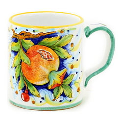 Artistica - Hand Made in Italy - DERUTA FRUTTA: Large Mug Pomegranate Design - 16 oz. - DERUTA FRUTTA Collection: Masterfully hand painted in Deruta Italy this collection features one of the most painstakingly painted fruits and leaves pattern exclusively made for Artistica by a small artisan shop located in the renown Via Tiberina that cross through Deruta.