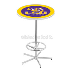 Holland Bar Stool - Holland Bar Stool L216 - 42 Inch Chrome Louisiana State Pub Table - L216 - 42 Inch Chrome Louisiana State Pub Table  belongs to College Collection by Holland Bar Stool Made for the ultimate sports fan, impress your buddies with this knockout from Holland Bar Stool. This L214 Louisiana State table with round base provides a commercial quality piece to for your Man Cave. You can't find a higher quality logo table on the market. The plating grade steel used to build the frame ensures it will withstand the abuse of the rowdiest of friends for years to come. The structure is triple chrome plated to ensure a rich, sleek, long lasting finish. If you're finishing your bar or game room, do it right with a table from Holland Bar Stool.  Pub Table (1)