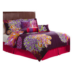 Pem America - Flower Show King Comforter Set with Bonus Pillows - Fun bright large scale flowers on a bed of rich purple color make Flower Show a standout.  This pattern is easy to care for with it 100% microfiber face cloth.  This is not your mothers floral print.  Flower show is a graphic trendy look that is popular with modern and younger bedrooms.  These comforter sets also come with decorative pillows to help you complete your bedroom.  Bound to be the rage of any room, this pattern is bright, fun and functional! Note: Pattern positioning may vary due to handcrafting. Includes king comforter (104x86 inches), 2 king shams (20x36 inches), bed skirt (76x80 inches) and 3 decorative pillows. Note: Pattern positioning may vary due to handcrafting. 100% microfiber face cloth with 100% hypoallergenic polyester fiber fill. Machine washable.