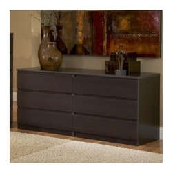 Tvilum - Scottsdale 6 Drawer Double Dresser - Features: -Collection: Barcelona. -Six drawers. -Construction material: Composite wood. -Environmentally friendly materials and manufacturing methods. -Built in safety drawer stops.