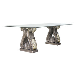 """Acanthus Dining Table Base (2 Pedestals) - Acanthus Dining Table Base (2 Pedestals). Style no. DT49512. 20""""w x 10""""d x 29 1/2""""h."""