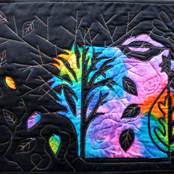 Black and Rainbow Decorative Quilt Wall Hanging by Elle's Dragons - This gorgeous quilted wall hanging is a beautiful contrast of bright and dark. A full 100 percent of the seller's profits are donated to the American Foundation for Suicide Prevention, which helps support suicide-prevention programs and research and provide aid to survivors of suicide loss.