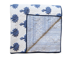 BrandWave - Motife Quilt, King - This classic floral design, inspired from a traditional indigo Jaipur block-print, brings a subdued sophistication to your bedroom.