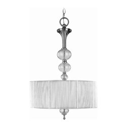 World Imports - Bayonne 3 Light Inverted Pendant in Brushed N - Manufacturer SKU: WI823337. Bulbs not included. Chic and modern. Transitional style. Features silver string lined shades and crackled glass balls. Brushed Nickel. Bayonne Collection. 3 Lights. Power: 75w. Type of bulb: Medium (Regular). Brushed Nickel finish. 10 ft. Chain & 12 ft. Wire. Canopy 6 in. D. 18 in. D x 26.75 in. H (11.58 lbs.)