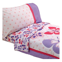 Crown Crafts Infant Products - Butterfly Toddler Bedding Set Carters Comforter Sheets - FEATURES: