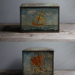 Large Viking Boat Tin by Every Eskimo - If you're going to have a romantic beachside cottage you gotta have a few nods to the nautical nature of it all. A tin crate with viking boat illustrations on all sides could be the perfect little stash for shells, pens and paper for when the moment strikes, matches for the evening fire or maybe even a little pipe of tobacco... y'know... just to up the ante on the mood of it all!