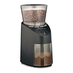 Capresso - Capresso Infinity Coffee Grinder - 1st in Coffee is please to offer the best burr coffee grinder under $100: the Capresso Infinity Conical Burr Coffee Grinder. This grinder features conical steel burrs that are produced as matched pairs in Switzerland for precise fit. The gear reduction motor produces a slow grinding speed (< 450 rpm) resulting in precision grinding from Turkish fine to French press coarse.