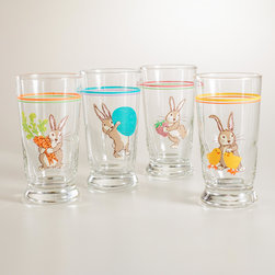 Bunny Juice Glasses, Set of 4 - These are fun for adults and kids. Hop into breakfast with bunny glasses.