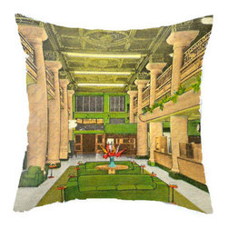 "Pictorial History - Art Deco Inspired 18"" x 18"" Pillow, Includes Faux Down Insert, Green - Take 1 vintage postcard, a pinch of snazzy editing and a little spun poplin and voila! You have this beautiful Art Deco pillow cover! It's beautiful greens and yellow will breathe life into your home and be a wonderful conversation piece.  Perfect for your Art Deco, Contemporary or Eclectic decor!"