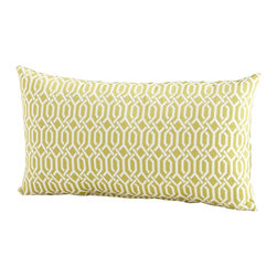 Cyan Design - Cyan Design Interlochen Pillow X-81560 - From the Interlochen Collection, this Cyan Design lumbar pillow features a simple but intricate repeating pattern that creates interest in any space. The interwoven pattern complimented by shades of lime green and ivory, completing the look of this contemporary pillow.