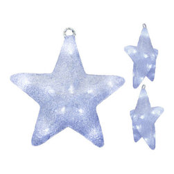 "3D LED Christmas Star Motif - The 3D star has 30 LEDs inside a durable metal frame meant for any weather condition. It can be hung in any place you'd like with a built in hanging ring and is perfect for the porch or entryway. Additional Information: Dimensions are: 17"" in length, 3.5"" in width, and 17"" tall. Listing is for one star."