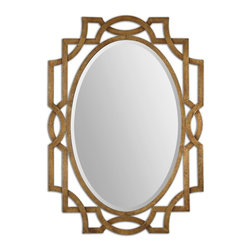 Regency Margutta Gold Oval Beveled Mirror - *Frame Is Made Of Hand Forged Metal Finished In Heavily Antiqued Gold Leaf