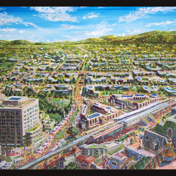 Walnut Creek, The Next 100 Years (Original) by Alfred Twu - Recently, the City of Walnut Creek turned 100 years old, and invited artists to make art to celebrate the occasion.  Here, I imagine a view from above the BART station, a few decades in the future, extrapolating current plans and trends.  A open air market winds through streets and plazas where traffic currently clog.  This piece was exhibited at the Walnut Creek centennial show at the Bedford Gallery in fall 2014.