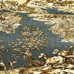 Tryst Toile Upholstery Fabric in Regatta Blue - Tryst Toile Upholstery Fabric in Regatta Blue is a discount designer fabric with a brown toile scene printed on a blue base. Ideal for upholstering projects or decorative pillows, this classic fabric has a rustic feel, perfect for cabin and country designs. American made with 55% linen and 45% spun viscose with a width of 54″. Repeat: 16″ vertical 27″ horizontal. Cleaning code: S, treated with Stain Repellent.