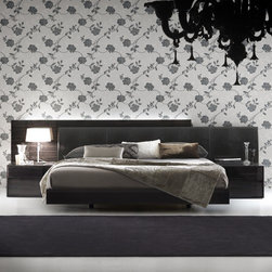Rossetto - Rossetto | Nightfly Platform Bed - A glamorous combination of high gloss finishes and rich crocodile print leather defines the unconventional style of Rossetto's Nightfly Platform Bed. Intended as a backdrop for nightstands, the high gloss back panel extends beyond the width of the bed on the left side, while the crocodile print leather headboard extends beyond the bed on the right side. Subtle LED lighting for the back panel is available as an option. The high gloss frame of the platform bed is supported by recessed feet.Designed for mattress only. Select Black with Black leather, White with White leather, or Ebony with Black leather. Available in Queen or King size.Note: The Nightfly Nightstands pictured are sold separately.