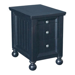 Hammary - Hammary T73474-22 Hidden Treasures Chairside Table in Black - The Hidden Treasures collection is a fabulous assortment of one-of-a-kind accent pieces inspired by the greatest furniture designs from around the world. Each selection is a true treasure - rich in old world icons and traditions. All the pieces in this collection are crafted with attention to every detail. From brass nailhead trim and exquisite hand-painting to elegant shaping and decorative trim, every item is a unique work of art. A wide variety of materials is used to create the perfect look and finest quality - from exotic woods, leather and stone to raffia and glass. The huge selection of finishes, hardware, exceptional carvings and other final touches offer unsurpassed versatility for any room in the home. Hidden Treasures includes cocktail tables, occasional and accent pieces, trunks, chests, consoles, wine racks, desks, entertainment units and interesting storage pieces. Place one in a comfortable reading nook... In the family room for flair and variety... In the foyer for a welcome look... In a bedroom for cozy style... Or in the office for function and versatility. The pieces in this collection mix beautifully with any decorating style and will easily become the focal point in any setting.