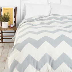 Zigzag Duvet Cover, Gray - This bedding would look awesome with teal walls. I love the large graphic print.