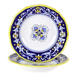 Artistica - Hand Made in Italy - Antico Deruta: Pasta/Soup Bowl - Antico Deruta Collection: Throughout the years, our Antico Deruta collection has been always considered the most formal depiction of the Ricco Deruta pattern. Its classic Arabesque decorative pattern is composed of rhythmic, curvilinear designs painted in a unique combination of regal blue and bright yellow. The foliated scrollwork motif featured in this collection was also employed in the architectural decorations of late Roman and Renaissance periods.