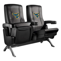 Dreamseat Inc. - West Virginia University NCAA Row One VIP Theater Seat - Single - Please note: This item is the single chair, not multiple as shown in the photo. We do not have photos of an individual chair by itself. Check out this fantastic home theater chair. This is the same seat that is in the owner's VIP luxury boxes at the big stadiums. It has a rocker back and padded seat, so it's unbelievably comfortable - once you're in it, you won't want to get up. Features a zip-in-zip-out logo panel embroidered with 70,000 stitches. Converts from a solid color to custom-logo furniture in seconds - perfect for a shared or multi-purpose room. Root for several teams? Simply swap the panels out when the seasons change. This is a true statement piece that is perfect for your Man Cave, Game Room, basement or garage.