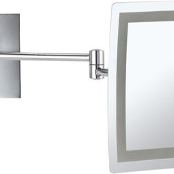 Nameek's - LED Lighted 3x Makeup Mirror - This rectangular makeup mirror is a wall mounted mirror with a single face. The face has a 3x magnification. This magnifying mirror has an LED light with an on/off switch on the base. The mirror is made from brass and has a stainless steel base. With a contemporary, Italian design, it is perfect for the modern master bathroom.