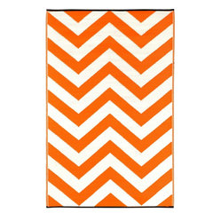 Indoor/Outdoor Laguna Rug, Orange Peel & White, 3x5