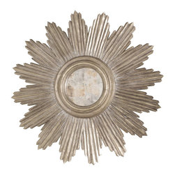 Worlds Away - Worlds Away Hand carved Champagne Silver Leaf Starburst Mirror LUDWIG S - Hand carved champagne silver leaf starburst mirror. Center is antiqued mirror.