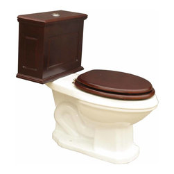 Renovators Supply - Toilets Bone Lowboy Flat Panel Elongated Dark Oak Finishish | 16780 - Lowboy Toilets: Old World Charm with 21st Century technology. Save WATER & MONEY with Renovator's water-saving dual flush system that offers both a 0.8 or 1.6 gallon flush. Discrete & handy the top button let?s you control the flush flow needed. Its solid wood Flat Panel tank has a dark oak finish. Ready to install with all mounting parts- includes solid wood tank & liner- supply line- angle stop- mounting hardware & Grade A vitreous elongated bowl. Toilet seat not included. 29 in. H x 17 in. W x 27 1/2 in. proj.