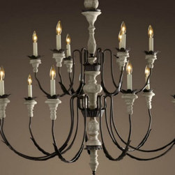 Antique Handmade wood and Colophony Chandelier -