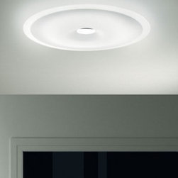 "Leucos - Planet 48 Wall Sconce / Ceiling Light - Product Details:     The Planet 48 Wall and Ceiling Light from Leucos is designed by the Leucos Design Team. Available in two sizes: Small - 48 and Large - 65, in a Satin white color with a Polished Chrome finish. UL Listed and ADA Compliant.  Details:                                Manufacturer:                            Leucos                                                            Designer:                            Leucos Design Group - 2008                                                Made in:                            Italy                                                Dimensions:                            Height: 19"" (49cm) X Width: 19"" (49cm)                                                              Light bulb:                                          Incandecent - 6 X 40W G9 Halogen              or               Fluorescent - 1 X 40W 2GX13 T5 Circleline                                                Material:                            metal, glass"