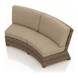 Forever Patio - Cypress Curved Outdoor Sectional Sofa, Spectrum Mushroom Cushions - The Forever Patio Cypress Rattan Patio Curved Sofa with Beige Sunbrella cushions (SKU FP-CYP-CS-HR-SM) comfortably seats two people, and is perfectly suited for use around circular tables, ottomans and fire pits. The heather-colored resin wicker is UV-protected, and features subtly muddled tones for a varied, natural look. Each strand of this outdoor wicker is made from High-Density Polyethylene (HDPE) and is infused with its rich color and UV-inhibitors that prevent cracking, chipping and fading ordinarily aused by sunlight. This curved outdoor sofa is supported by thick-gauged, powder-coated aluminum frames that make it more durable than natural rattan. This piece includes fade- and mildew-resistant Sunbrella cushions for added comfort in your outdoor space.