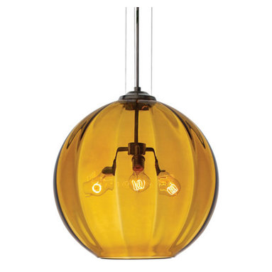 World Suspension by Tech Lighting - World pendant features a hand-blown Murano glass in amber color and a antique bronze finish. Glass available in amber and smoke color. Black, satin nickel and white finish options come with a satin nickel cap and clear cable. Antique bronze finish with an antique bronze cap and brown cable. Includes 12 feet of field-cuttable cable. Dimmable with standard incandescent dimmer. Three 60 watt, 120 volt, A19 medium base Classic Edison lamps included. General light distribution. ETL listed. 21 inch diameter x 20 inch height.