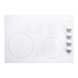 """Frigidaire - FFEC3025LW 30"""" Smoothtop Electric Cooktop With 4 Burners  12"""" Element  Hot Surfa - This Frigidaire30 Electric Cooktop allows you to Select options or control cooking temperature with our easy to use controls and the extra-large 12 element gives you space for larger pots and pans"""