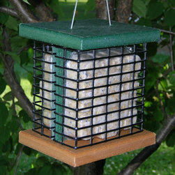 Songbird Essentials - Recycled Poly Double Suet Feeder - Holds 2 suet cakes. Easy to fill & clean. Vinyl coated steel cable.