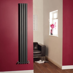 Hudson Reed - Luxury Anthracite Vertical Designer Radiator Heater 70 x 9.3 & Valves - With an impressive heat output of 732 Watts (2,496 BTUs), this designer radiator, in a fashionable anthracite finish (RAL7016), is stylish and highly efficient, ensuring that your room is heated quickly.This luxury radiator is designed especially for use in any room, looking equally stylish in a modern or traditional setting; its four anthracite vertical columns bring a touch of elegance to any living space. This modern version of the traditional cast-iron radiator is also highly functional, connecting directly into your domestic central heating system via the angled radiator valves included. This radiator comes complete with a 5 YEAR GUARANTEE.Luxury Anthracite Vertical Designer Radiator 70 x 9�_ Details:Dimensions: (H x W x D) 70 x 9�_ x 2.15(1780mm x 236mm x 55mm)Output: 732 Watts (2,496 BTUs)Pipe centres with valves: 12.2(310mm)Wall to centre of tapping: 2.5 (65mm)Number of columns: 4Oval crossbarsDesigned to be plumbed into your central heating systemSuitable for bathroom, cloakroom, kitchen etc.Please note: Angled radiator valves are includedBuy now, to transform your living space, at an affordable price.5 year guarantee Please Note: Our radiators are designed for forced circulation closed loop systems only. They are not compatible with open loop, gravity hot water or steam systems.