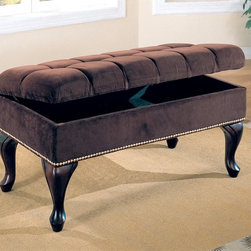 Coaster - Dark Brown Traditional Bench - Storage bench in a dark brown fabric with nailhead trim and tufted buttons.
