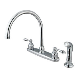 Kingston Brass - Double Handle Goose Neck Kitchen Faucet with Non-Metallic Sprayer - This double handle kitchen faucet personifies the elegance of the early traditional American design. The faucet features an 8in. centerset platform with a high goose neck spout that rotates 360 degrees for accessibility and convenience. The body of the faucet is constructed in solid brass for durability and long-lasting usage with the finish made from polished chrome for corrosion and tarnishing resistance. The handle levers feature a 1/4-turn on/off mechanism for controlling water volume and temperature. The faucet operates with a washerless disc valve for drip-free functionality and has a 2.2 GPM (8.3 LPM) and a 60 PSI maximum rate. An integrated removable aerator is fitted beneath the spout's head piece for conserving water flow. A 10-year limited warranty is provided to the original customer. Non-metallic sprayer included.