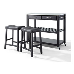 "Crosley - Stainless Steel Top Kitchen Cart/Island With 24""  Upholstered Saddle Stools - Dimensions:   18 x 42 x 36 inches"